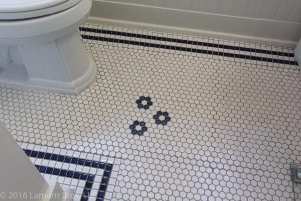 portland craftsman home: mosaic tile bathroom floor