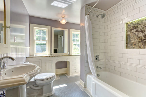 working with a design/build firm: light purple bathroom