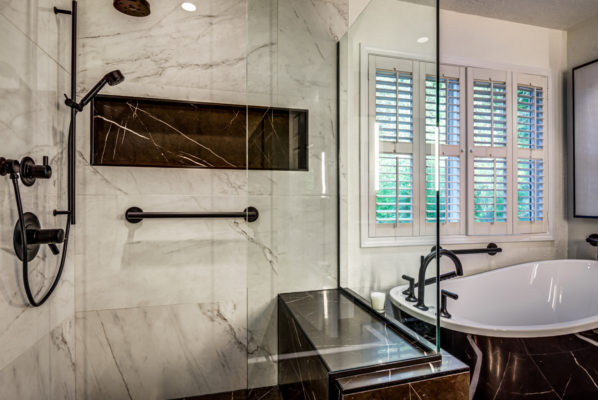2020 bathroom trends: large glass walk-in shower