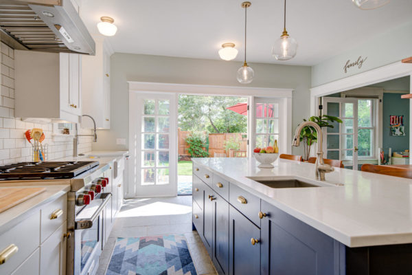Portland Kitchen Remodel with blue cabinets