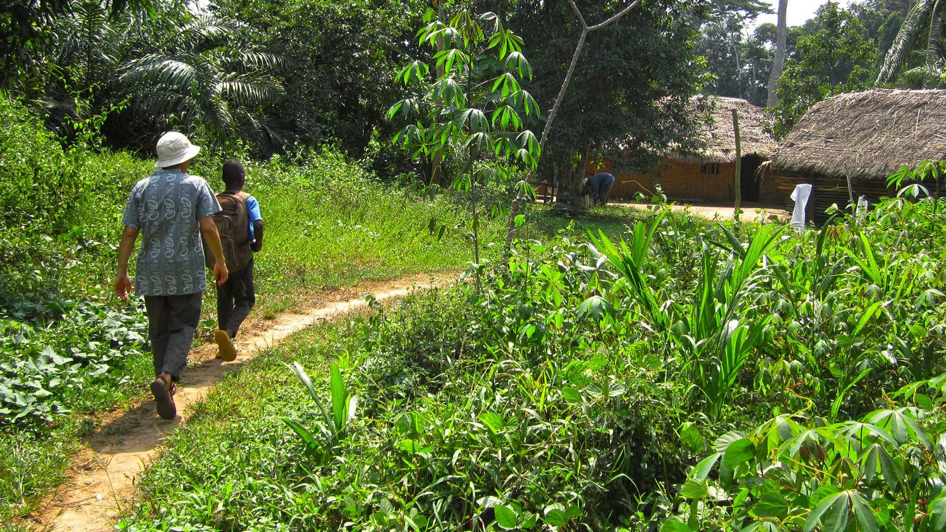 Mission Partners of The Keystone Project walking a trail somewhere on the African continent