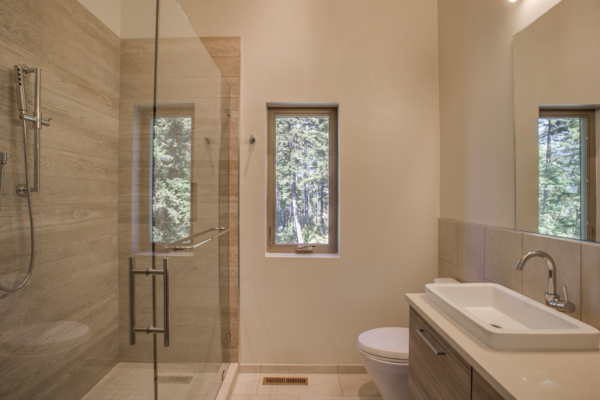 tile trends: faux wood tile in the shower