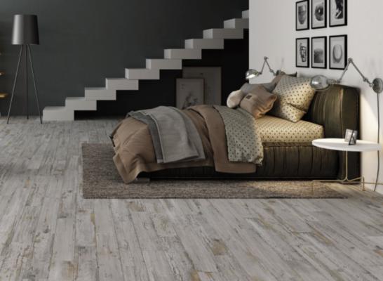 tile trends: rustic worn wood tile look