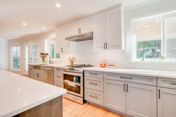 kitchen remodel costs: new white and gray kitchen