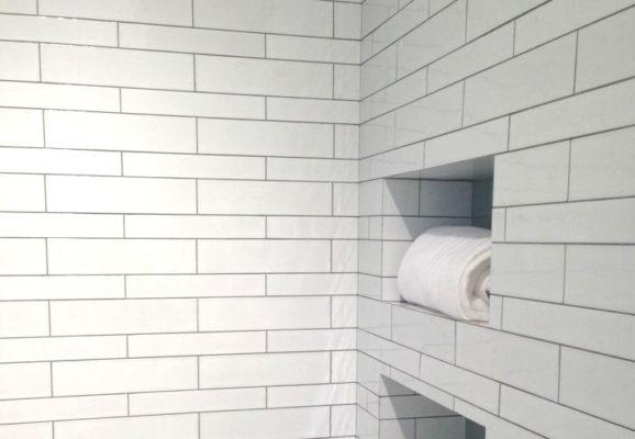 mixed subway tile
