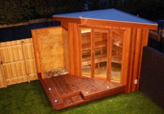 home sauna: backyard sauna