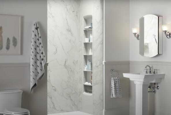 slab shower: kohler choreograph acrylic