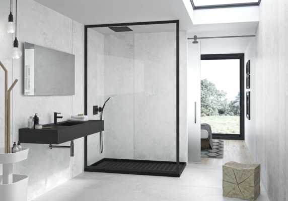 slab shower with white walls