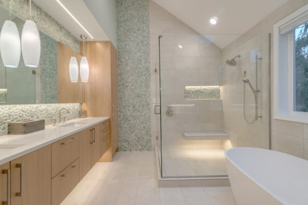 bathroom remodel with lots of natural stone