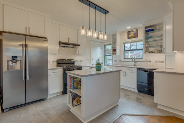 southeast portland kitchen remodel with hanging pendant lights