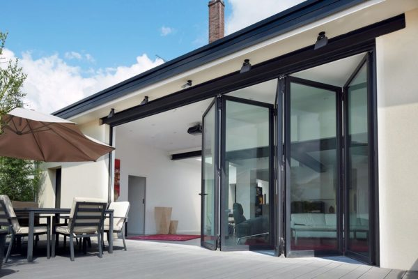 bifold vs sliding doors: black sliding doors