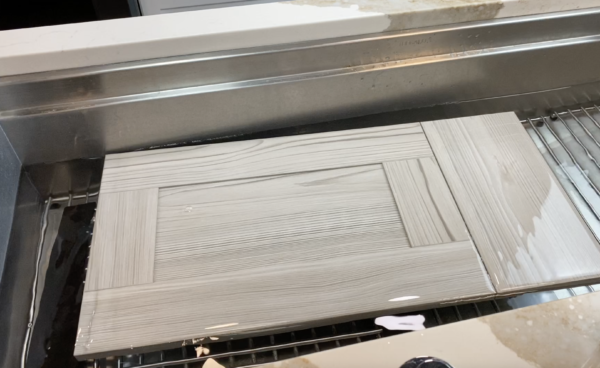 water resistant kitchen cabinets: gray laminate