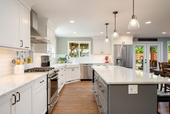 portland kitchen remodel with white cabinets and gray island