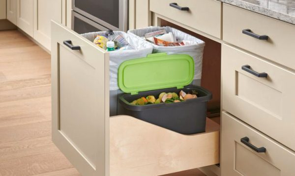 pull out trash cabinet with composting