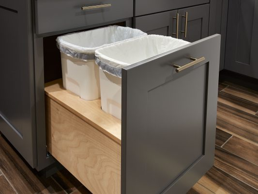 pull out trash cabinet in gray