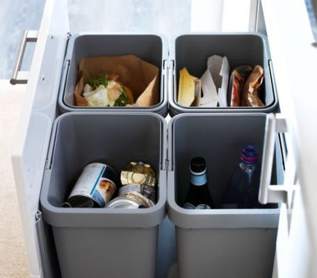 pull out trash cabinet with recycling areas