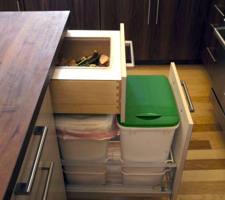 pull out trash cabinet with lids