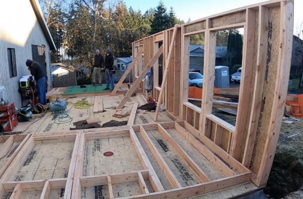 lumber framing on home