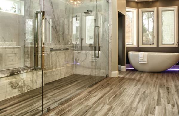 wood look tile in bathroom