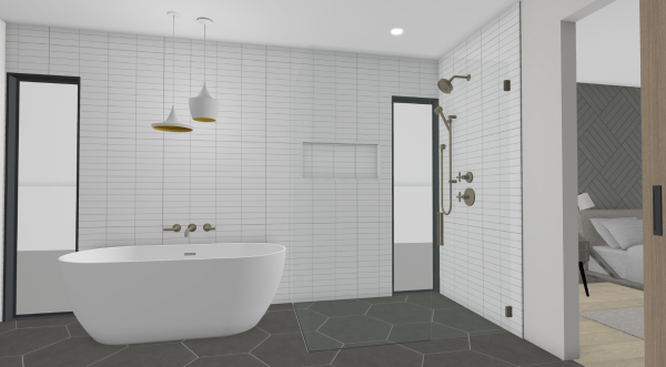 large scale addition with new bathroom rendering
