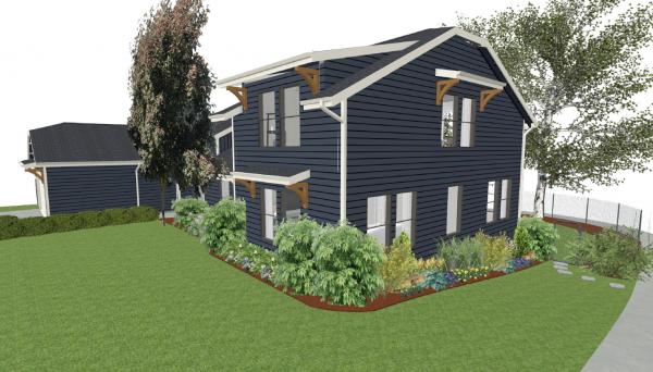 portland home addition: blue home addition
