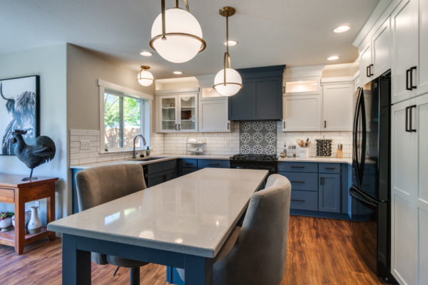 blue kitchen with quartz countertops