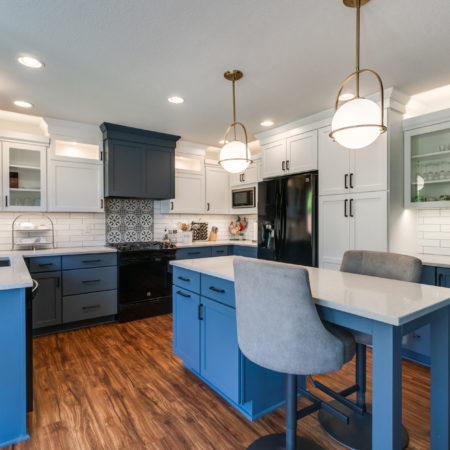 kitchen remodel with blue cabinets