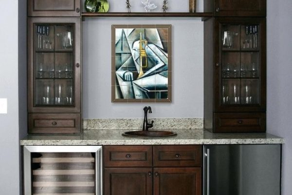 modern home bar: wine bar and fridge