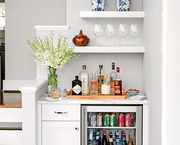 small home bar with white shelves