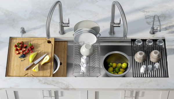 workstation sinks with several accessories