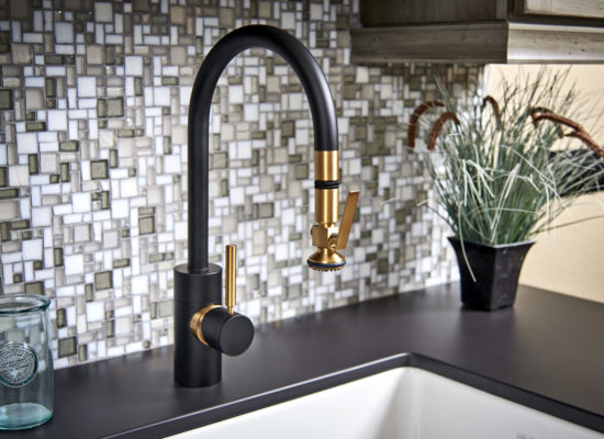 plumbing fixtures: black and gold high end faucet