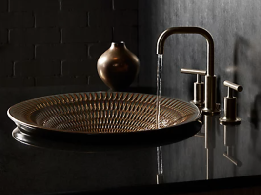 hammered copper bathroom sink