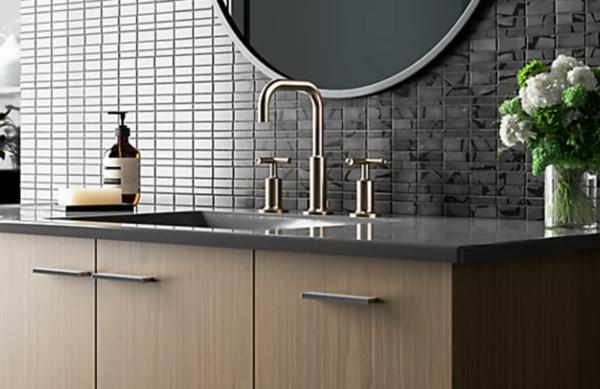 plumbing fixtures: gold bathroom faucet