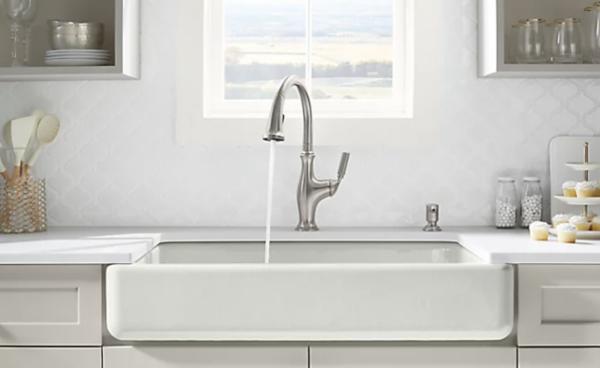plumbing fixtures: cast iron farmhouse sink