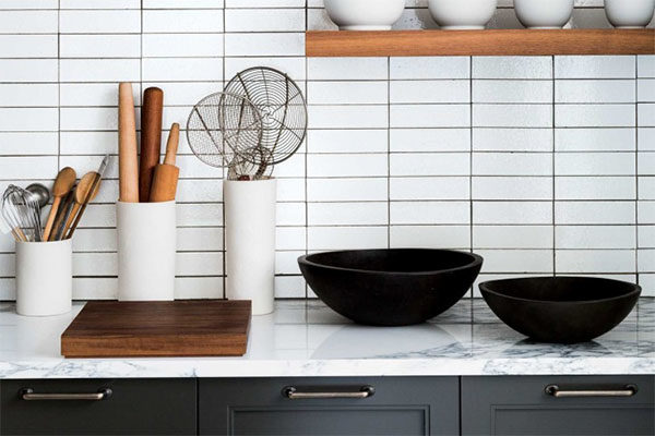 stacked subway tile in kitchen